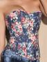 Blue Floral Denim Corset