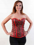 Corset in red brocade with antique busk closure and chain detail