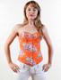 Orange Floral Denim Sexy outerwear Corset