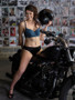 Bikini briefs in Black Satin Elastane