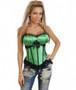Vibrant green satin burlesque Corset