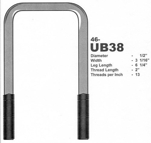 M12 Square Plated U Bolt for Boat Trailers 60mm Width x 100mm Length