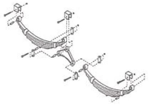 95-110 Hanger Kit for Double Eye Springs on Tandem Axle Trailer
