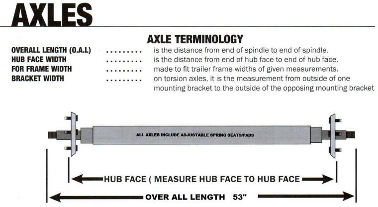"22-AXC1 Axles- Galvanized Square Tube  (53"") 1200 LB"