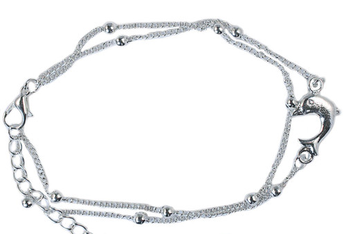 two strand silver coloured dolphin anklet