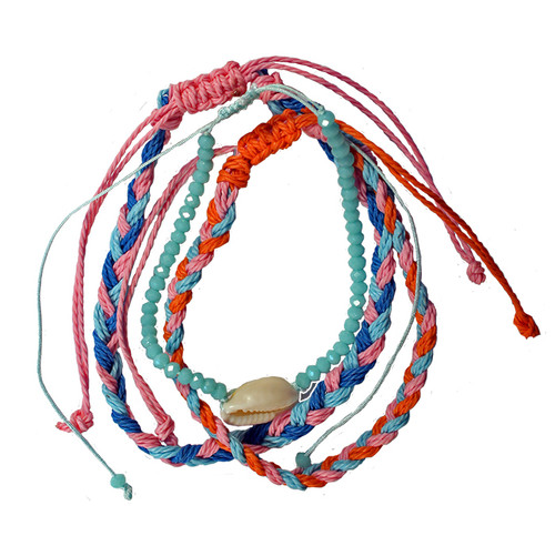 Adjustable 3 strand bracelet set - Aqua and pink strands with Cowrie shell