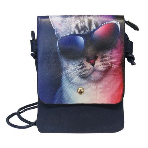 Blue shoulder bag with cool cat print on front