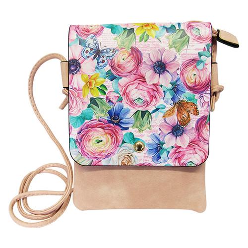 dusky pink shoulder bag with pastel coloured flowers print on front