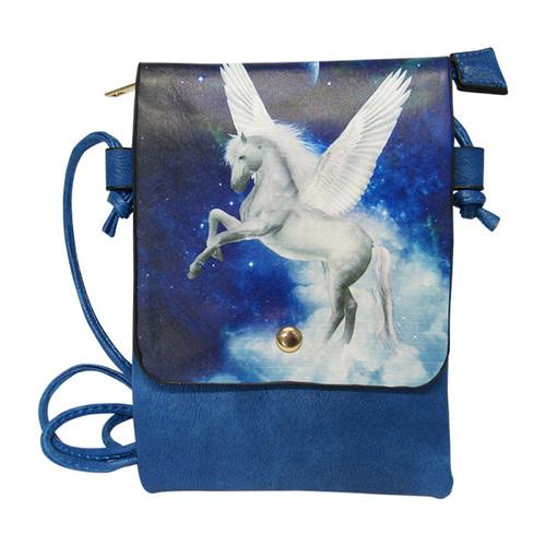 blue shoulder bag with Pegasus print on the front