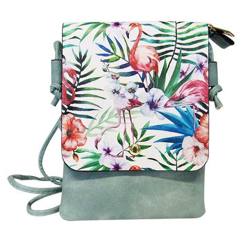 seafoam coloured shoulder bag with pink flamingo tropical print on front