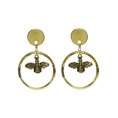 Bee earrings in a hoop hung from gold coloured stud on posts