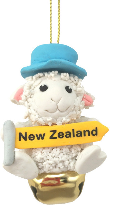 NZ Sheep with sign hanging Christmas Decoration