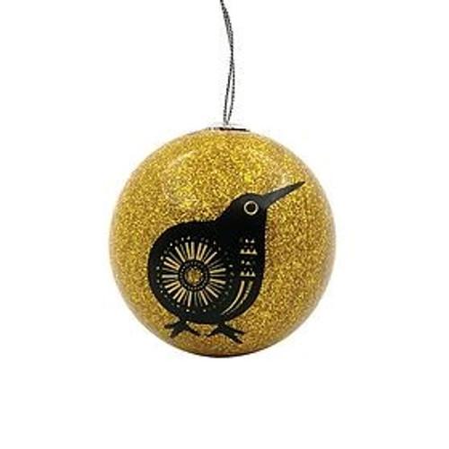 Retro kiwi Christmas bauble