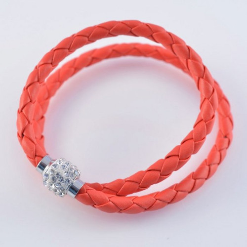 Red wrap bracelet with crystal