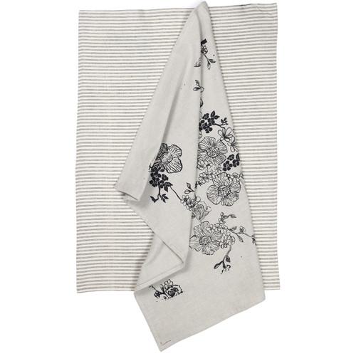 100% Cotton tea towels - Rose garden design - pack of 2