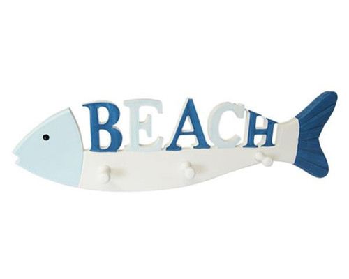 3 x coat hooks on a fish with the word beach on it !!