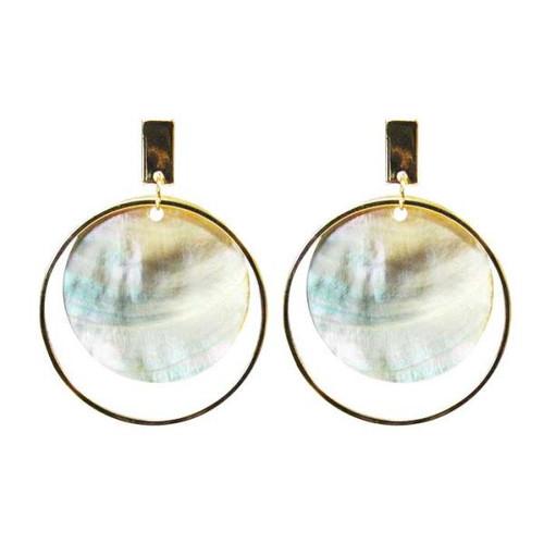 shell circles in gold hoop earrings