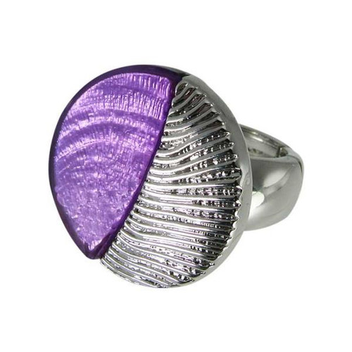 Purple with silver leaf ring