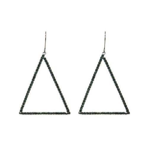 Gunmetal and Emerald crystal, triangle, hook earrings