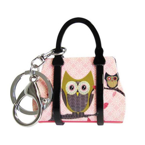 Key ring - pink handbag with owl on it
