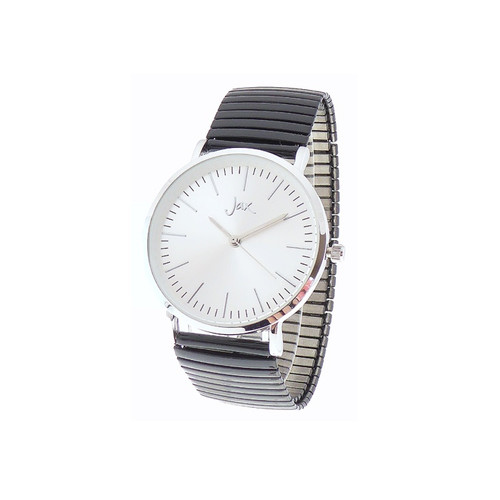 Black watch with white face and stretch strap