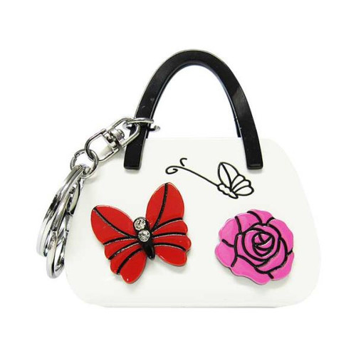 Key ring - Butterfly and rose on white handbag
