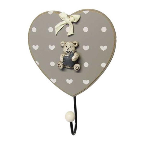 Country Chic Teddy on heart hook (choice of 3 colours)