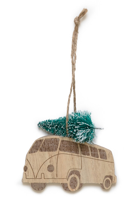 Hanging etched natural wood Kombi Van with tree