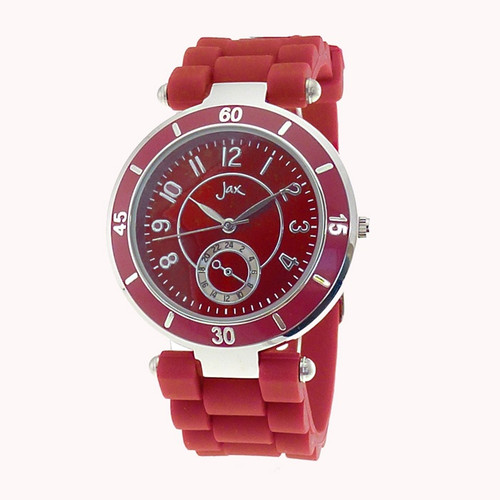 silv and red watch with silicon strap