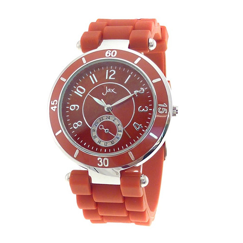 silv and burnt orange watch with silicon strap