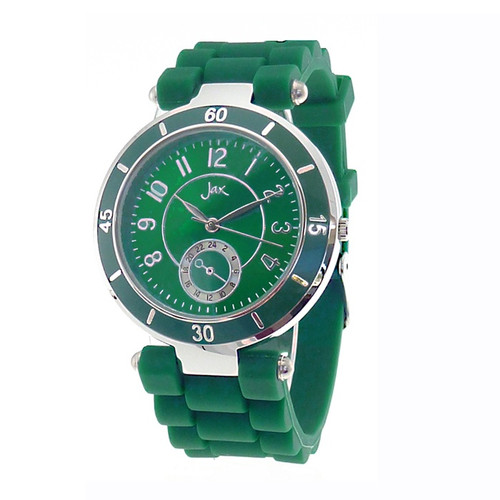 silv and green watch with silicon strap