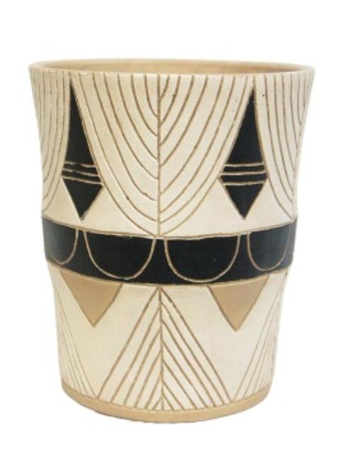 29.5cm Huda Vase - White with black markings