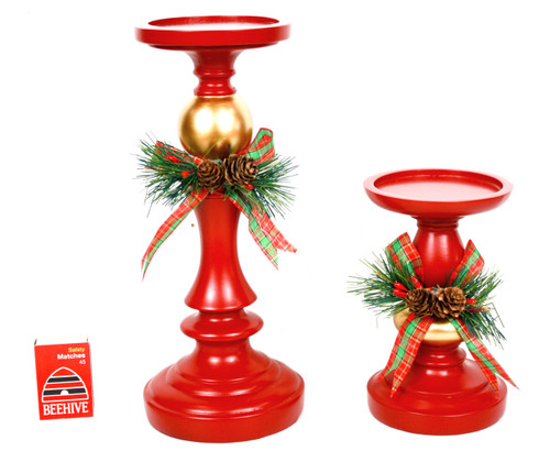 Christmas candle holder - red with bow - available in 2 sizes