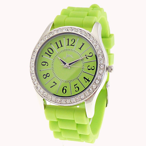 silver and diamante lime watch