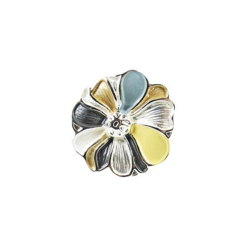 Snap-Flower Gold Slv White