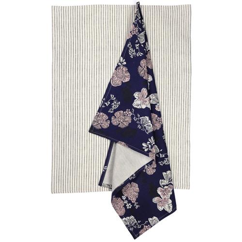 set of 2 x tea Towels - Indigo Rose
