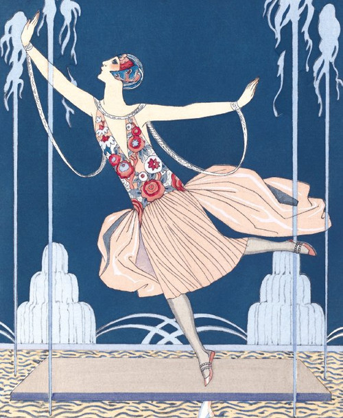 Greeting card - Art Deco style Flapper Dancing in jets of water