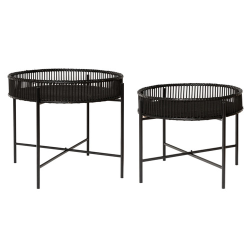 set of 2 round black bamboo tables on metal frame (60X49CM / 49X40CM)