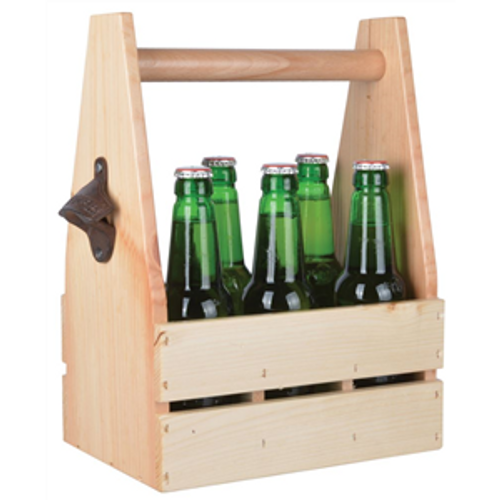 Wooden Pine Bottle Crate with opener (beer not supplied)