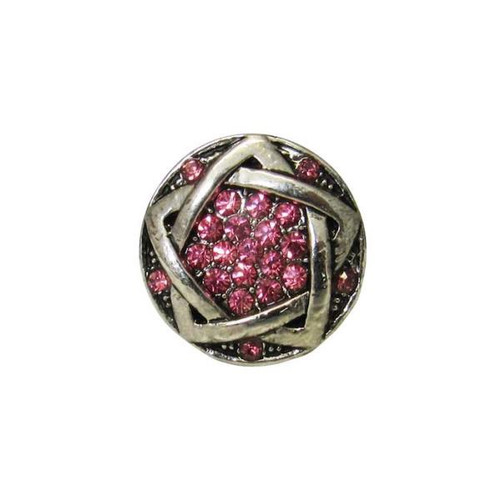 snap - celtic pink diamante flower
