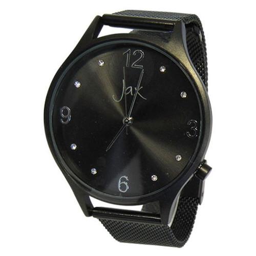 Watch - slim diamante black frame with easily adjustable black strap