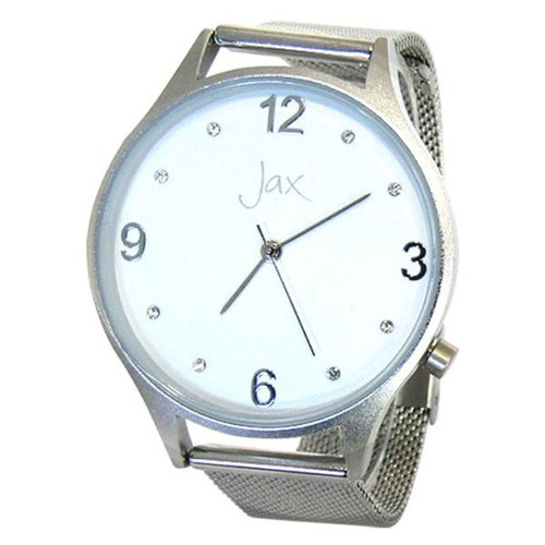 Watch - slim diamante silver frame and strap