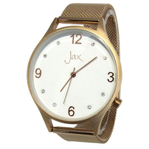 Watch - slim diamante rose gold frame and strap