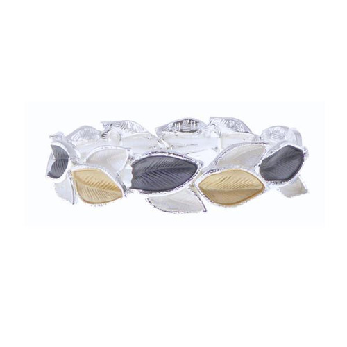 Silver, gold and grey leaves bracelet