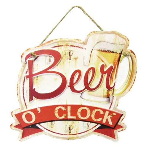Retro Style hanging Tin Plaque - Beer O'clock