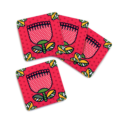 Pop Pohutukawa - Coaster Set