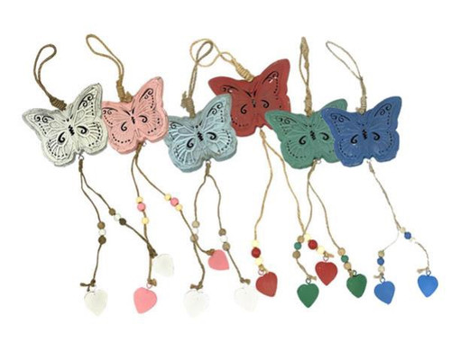 Country Chic Hanging metal butterfly with distressed vintage style finish (comes in 6 colours)