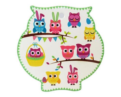 "Owl Trivet  Ceramic Tile - colourful ""parliament"" of owls"