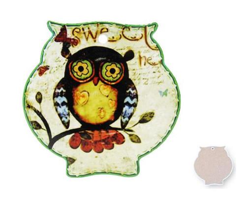 Owl Trivet Ceramic Tile - Green edge  with hearts on chest!