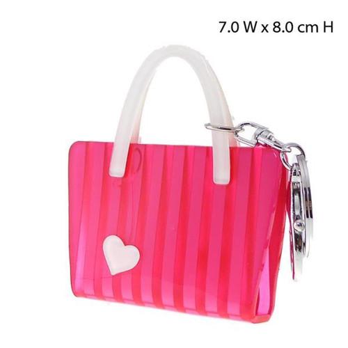 Key Ring - heart on pink stripe handbag